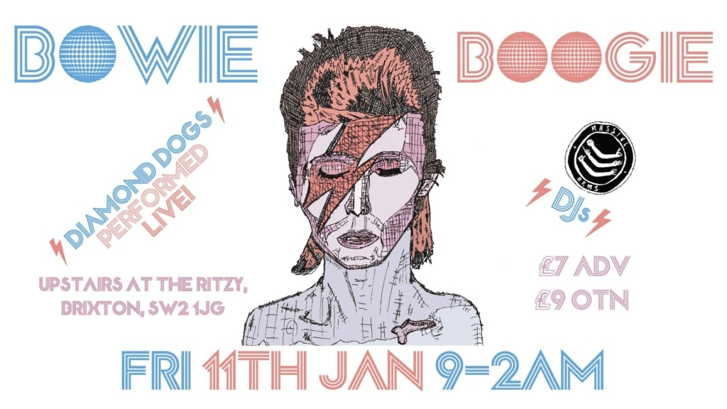 An artistic drawing of David Bowie