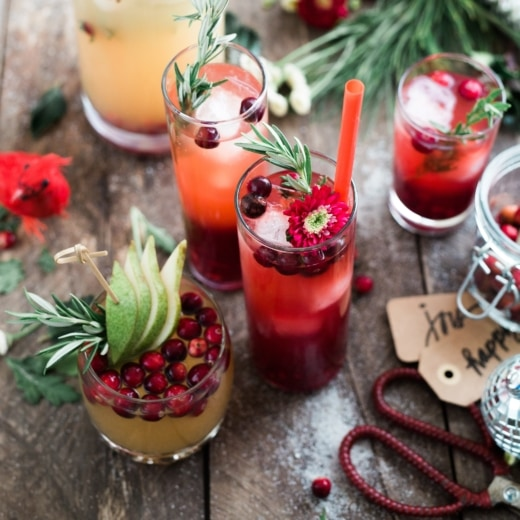Christmas drinks on a wooden table