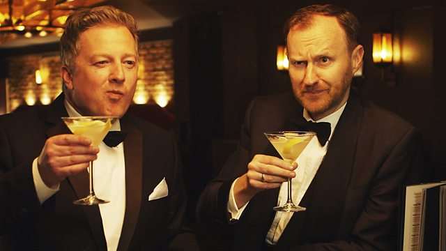 Mark Gatiss and Dr Matthew Sweet in tuxedos each raising a glass of martini
