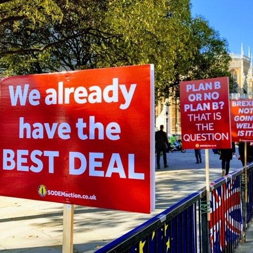Brexit banners outside Westminster