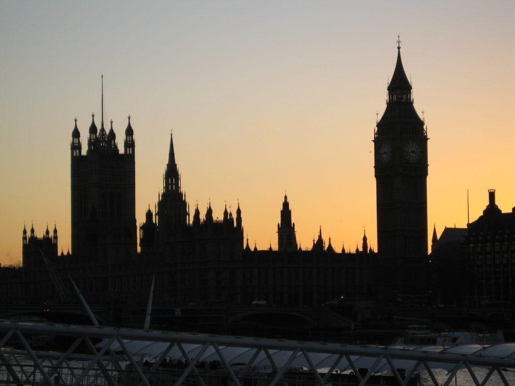 london westminster at dusk