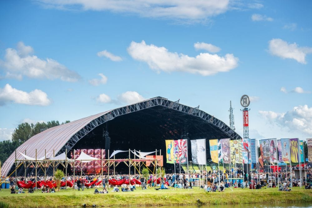 A large music stage in a field