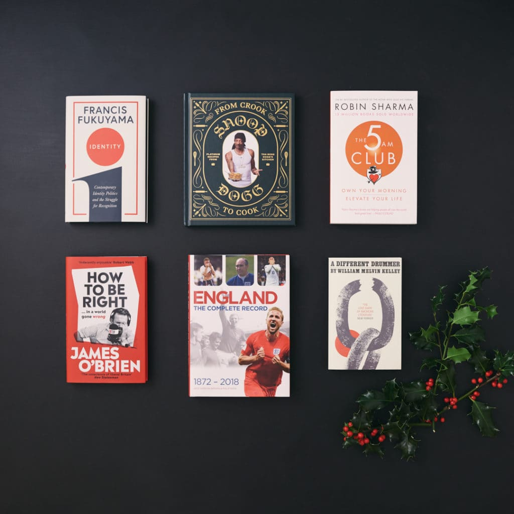 Six books pictured from above for The MALESTROM's Christmas books gift guide