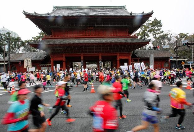 Runners in the Tokyo marathon