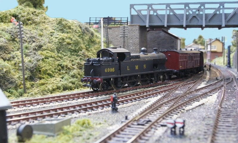 A steam train on a model railway