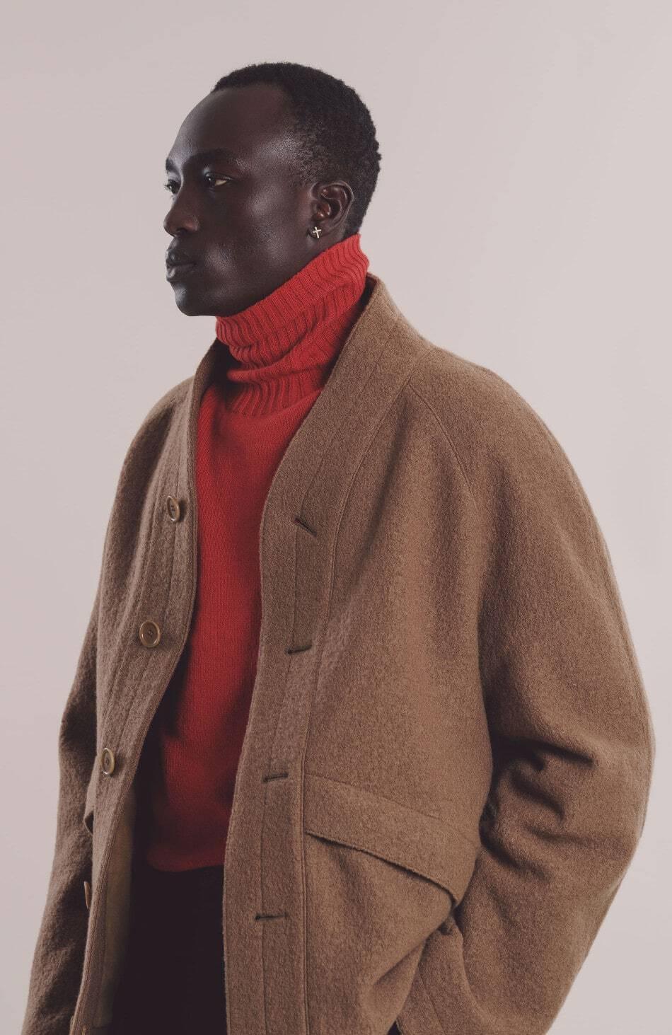 A model wearing 100% wool Erkin Jacket from YMC